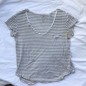 Olive and White Striped American Eagle Shirt